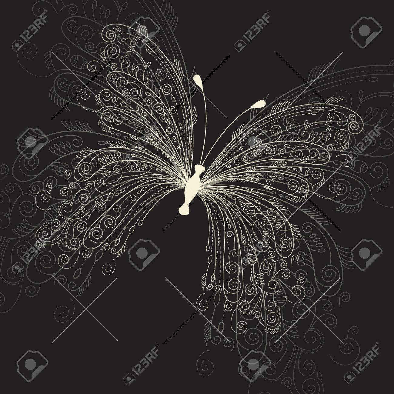 butterfly on black background Stock Vector - 6927990