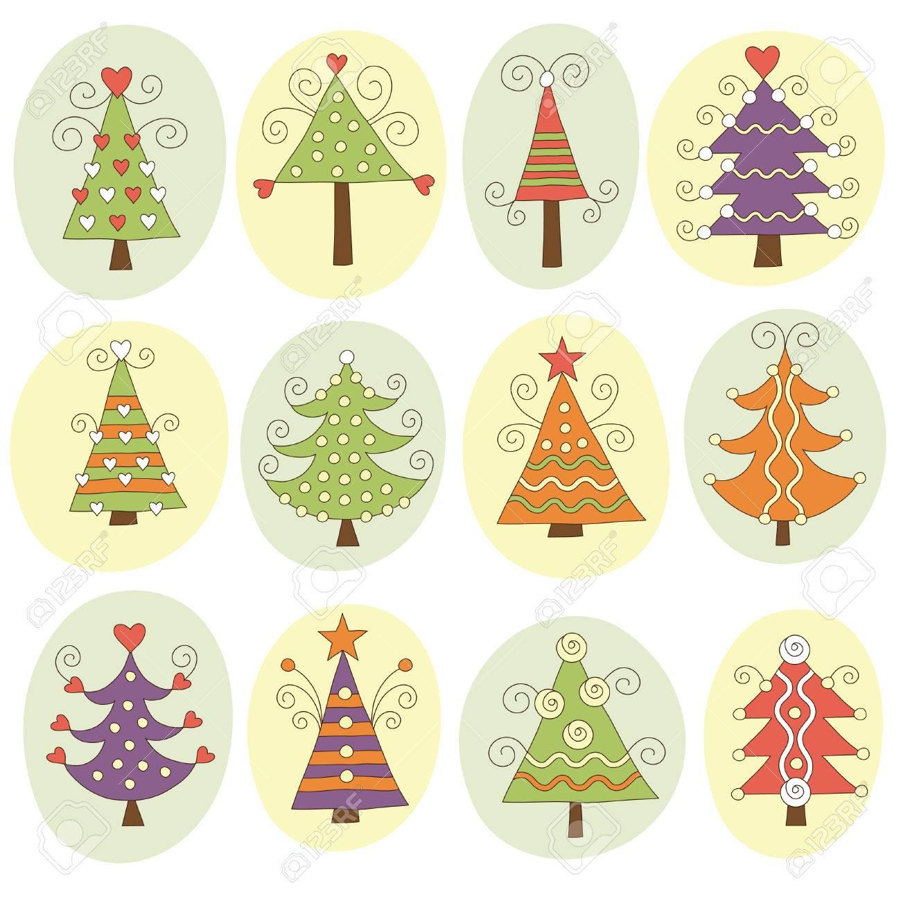 Cute christmas trees Stock Vector - 7957443