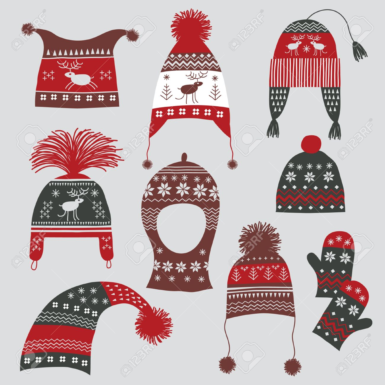 Winter hats with nordic ornament Stock Vector - 8094443