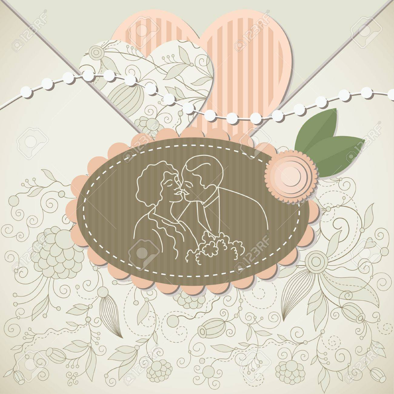 How to scrapbook wedding cards - Wedding Card Scrapbook Elements Stock Vector 10346795