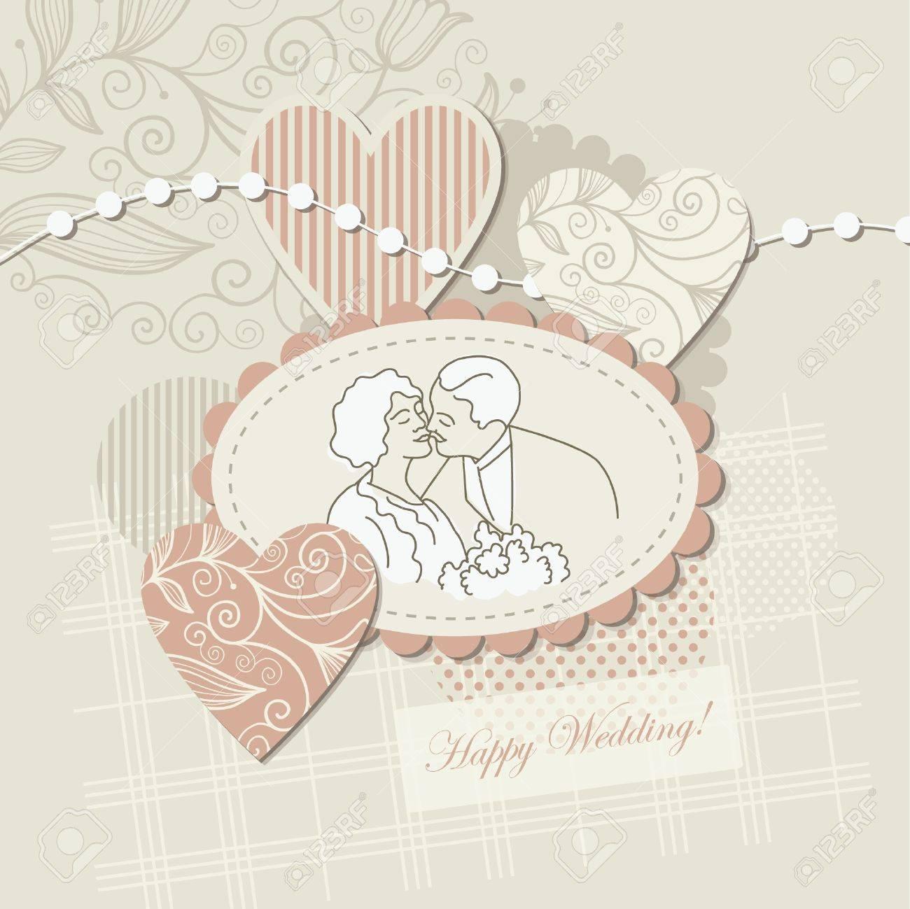 How to scrapbook wedding cards - Wedding Card Scrapbook Elements Stock Vector 10346802