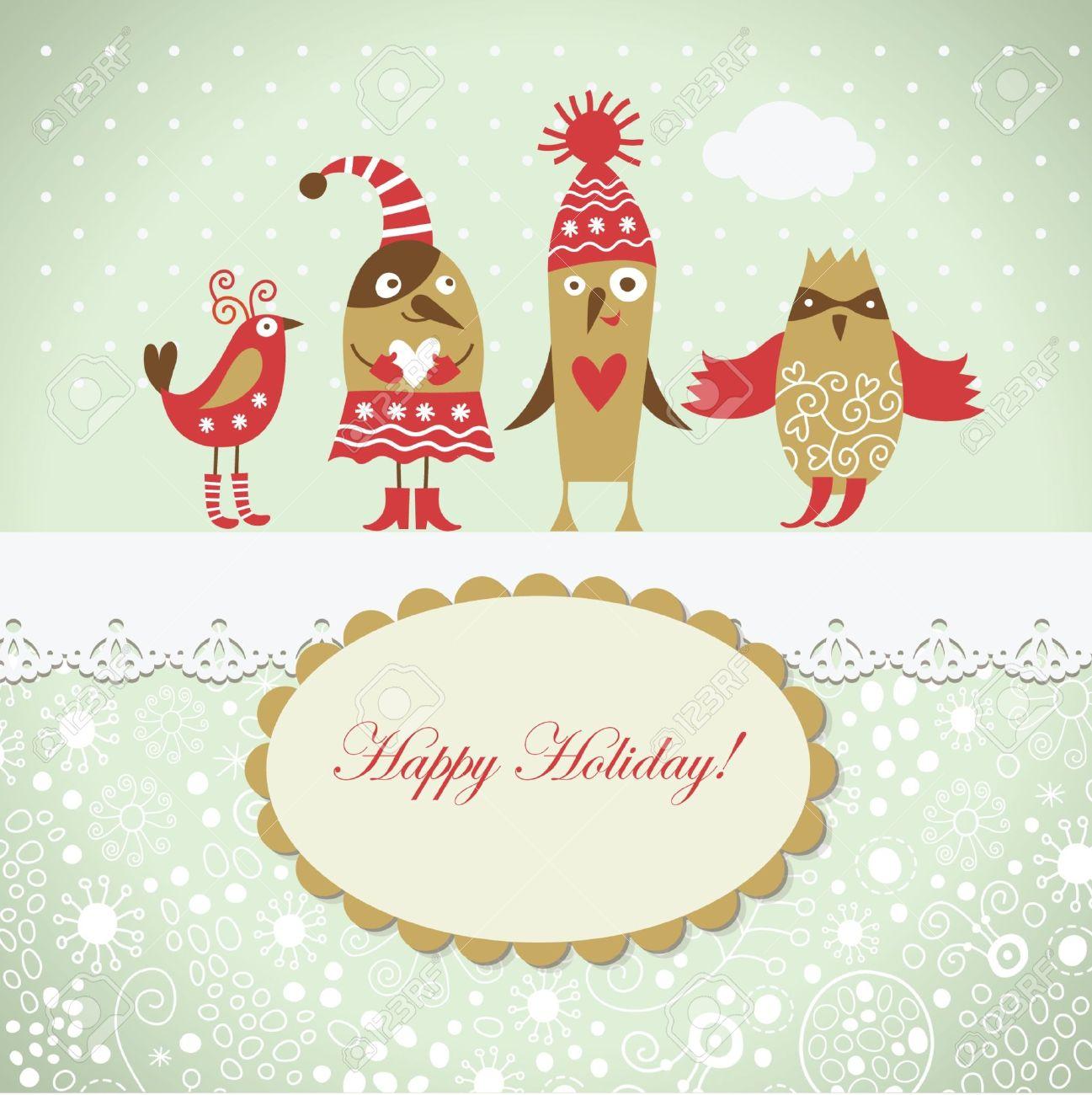 Christmas card with cute birds Stock Vector - 10570599