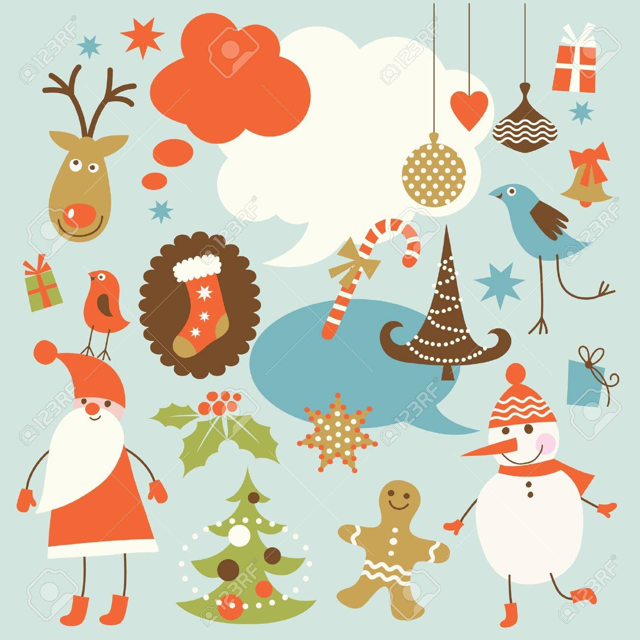 Christmas background, collection of icons Stock Vector - 10915472