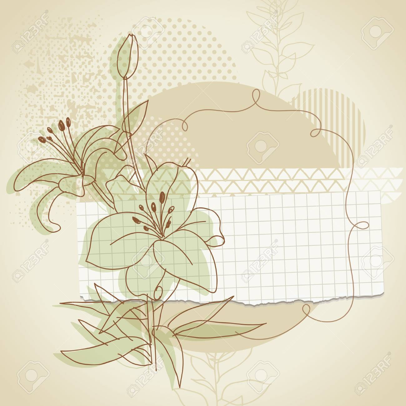 grunge background with floral elements Stock Vector - 11213568