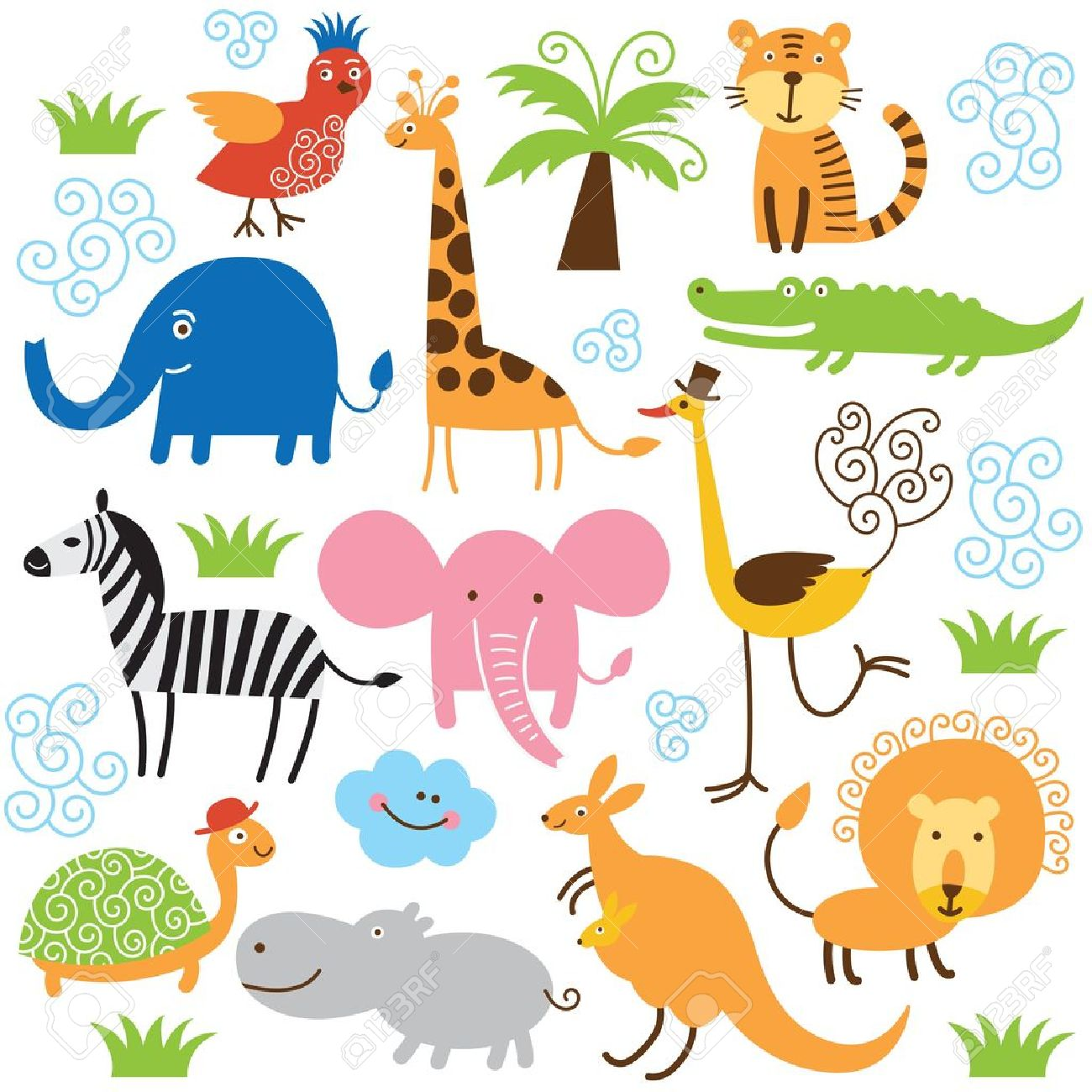 set of vector animals royalty free cliparts vectors and stock