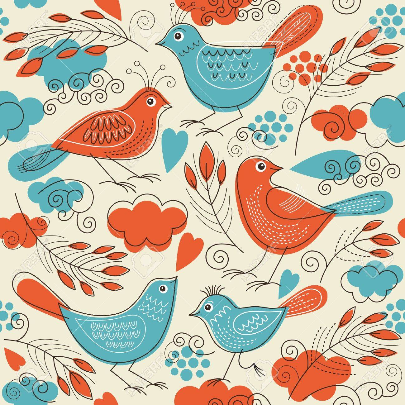 Seamless pattern with birds Stock Vector - 15375297