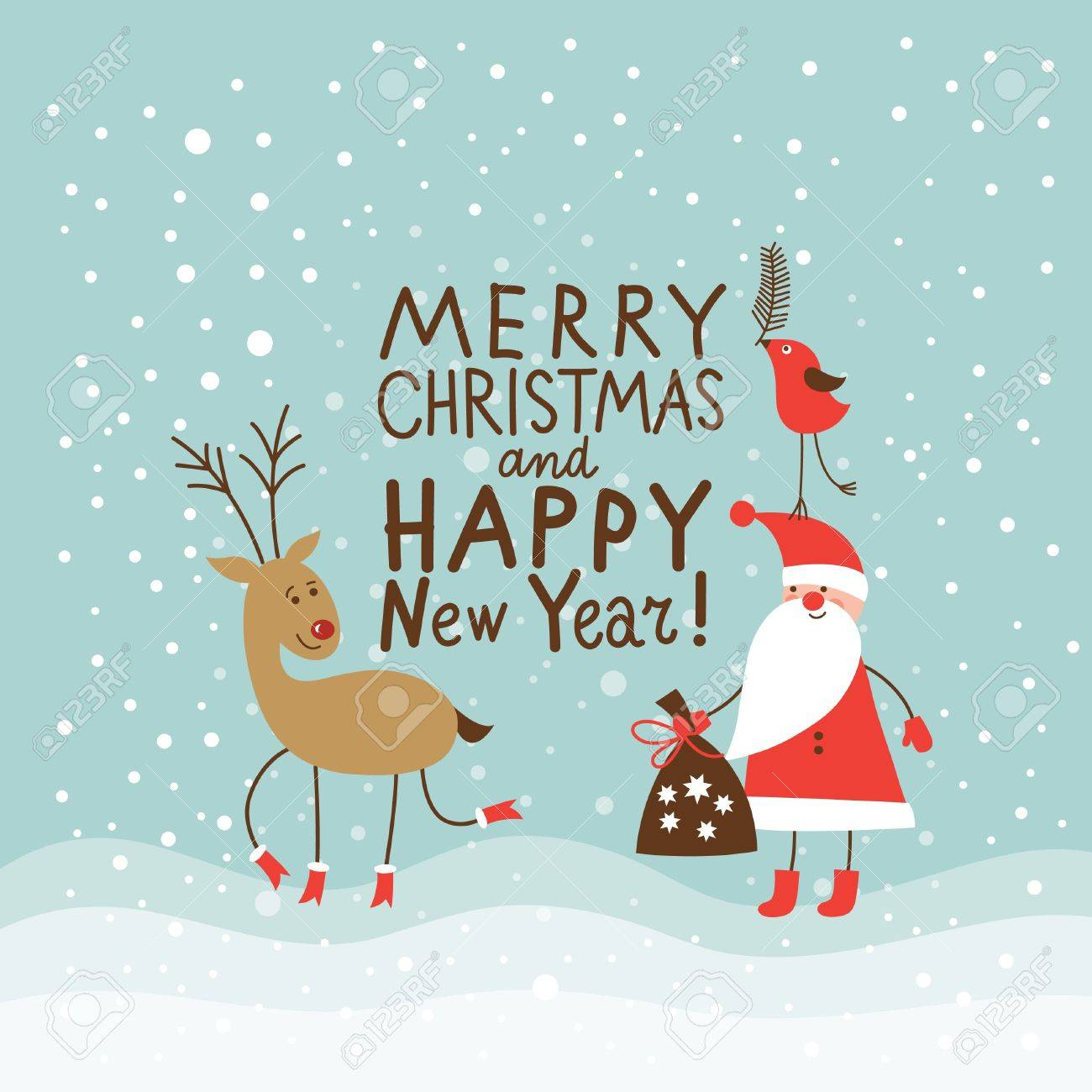 Christmas and new year greeting card royalty free cliparts vectors christmas and new year greeting card stock vector 16240514 m4hsunfo