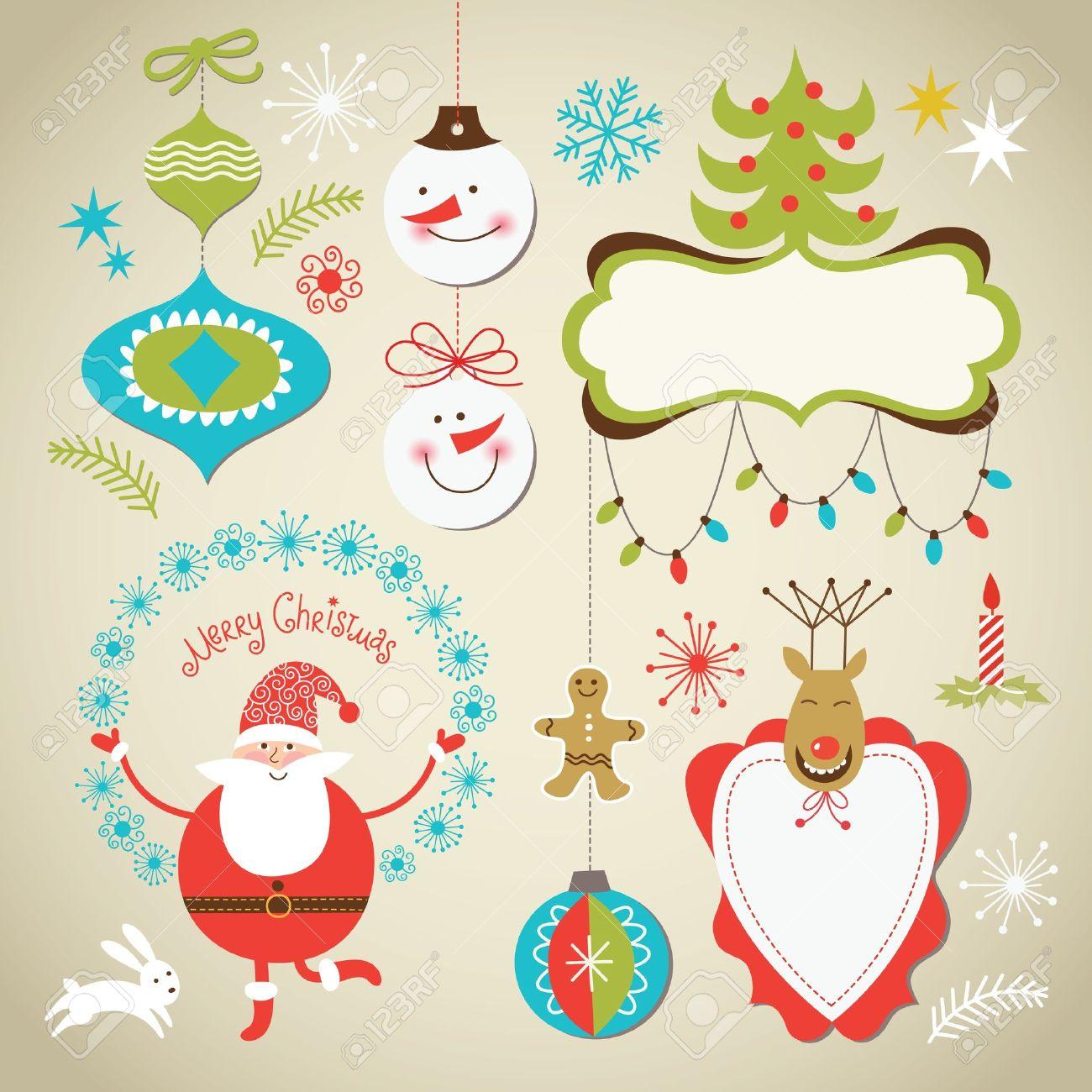 Juego De Navidad Y Ano Nuevo Elementos Marcos Lindos Para Texto