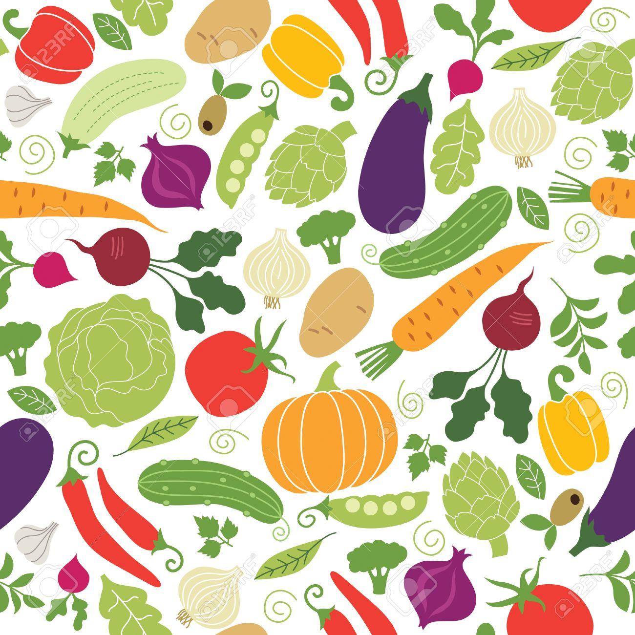 シームレスなパターン野菜イラストのイラスト素材ベクタ Image