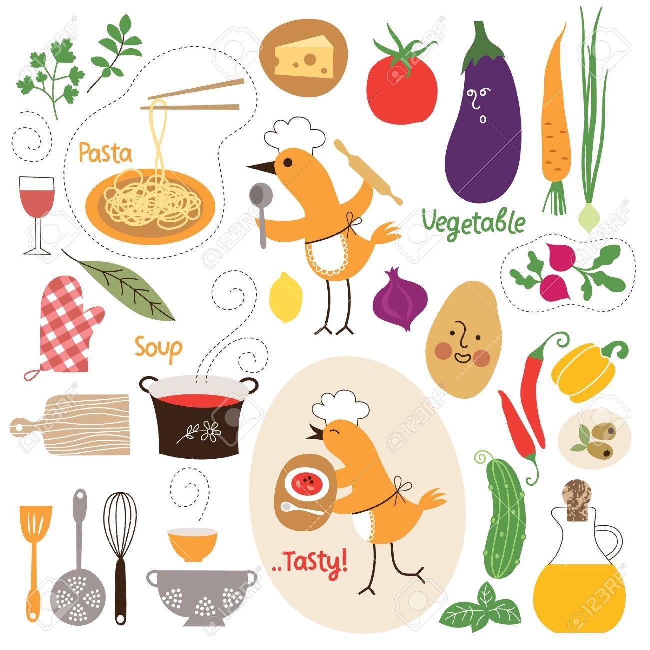 健康的な食事、食品イラスト コレクション ロイヤリティフリークリップ