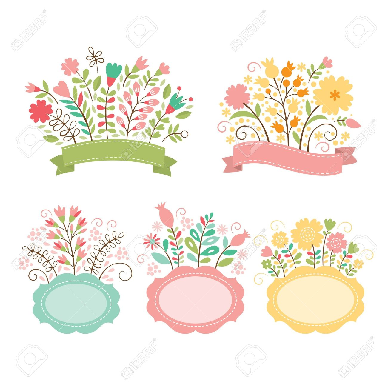 Set Of Floral Bouquets And Romantic Frames, Vector Collection ...