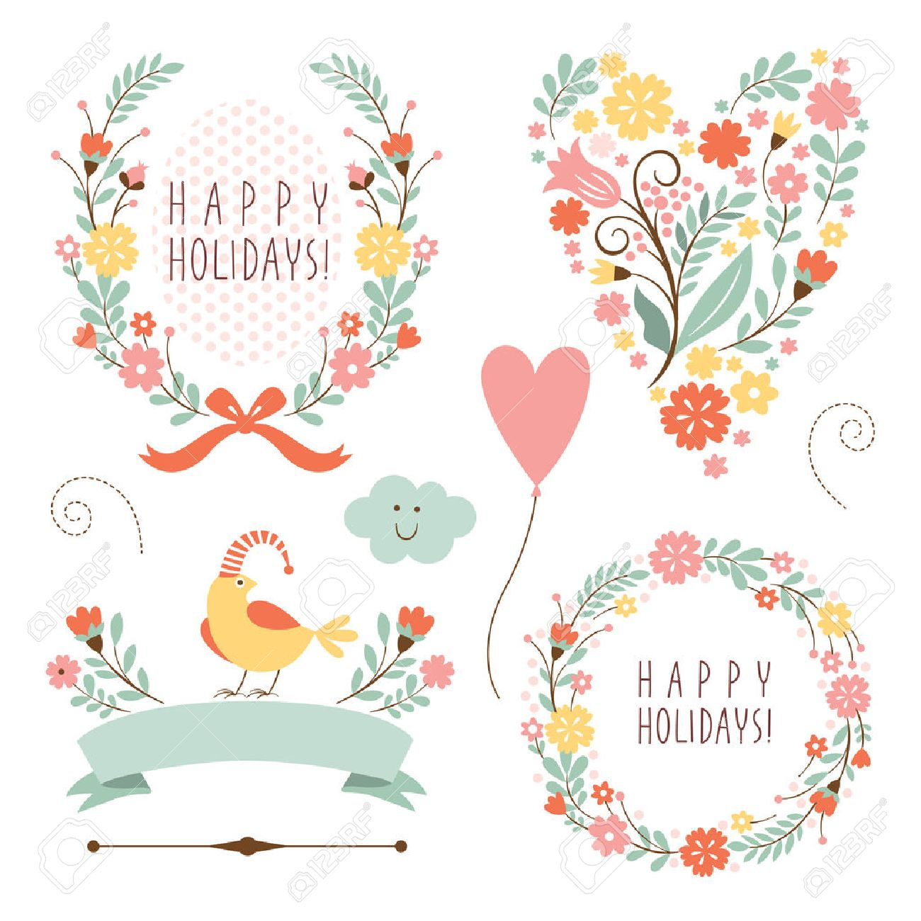 Banners, Floral Frames And Graphic Elements Royalty Free Cliparts ...