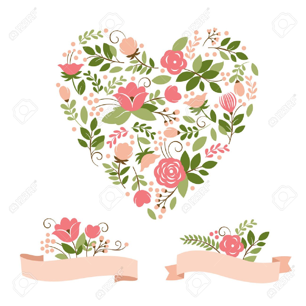 Heart stock illustration royalty free illustrations stock clip art - Floral Bouquets And Heart Stock Vector 22504590