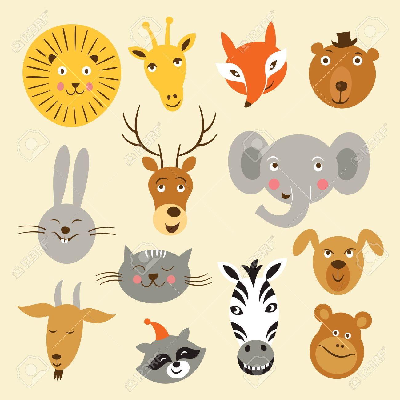 Vector illustration of animal faces Stock Vector - 22504595