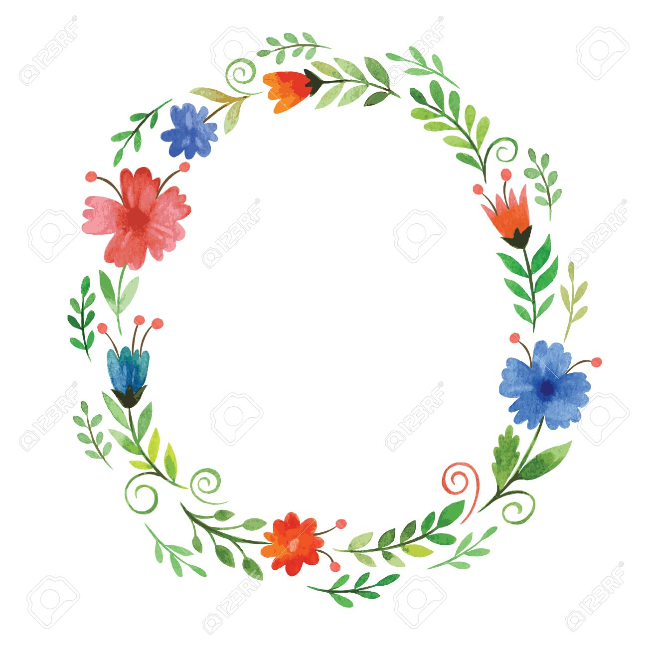 Watercolor Floral Frame Stock Vector