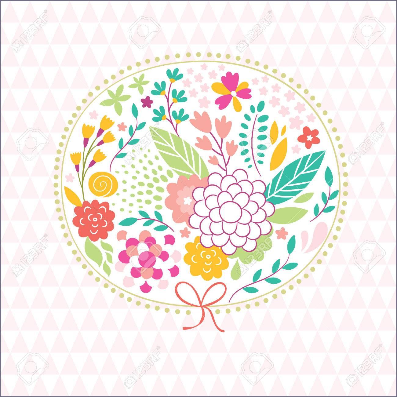 かわいい花のイラスト美容グリーティング カードのイラスト素材