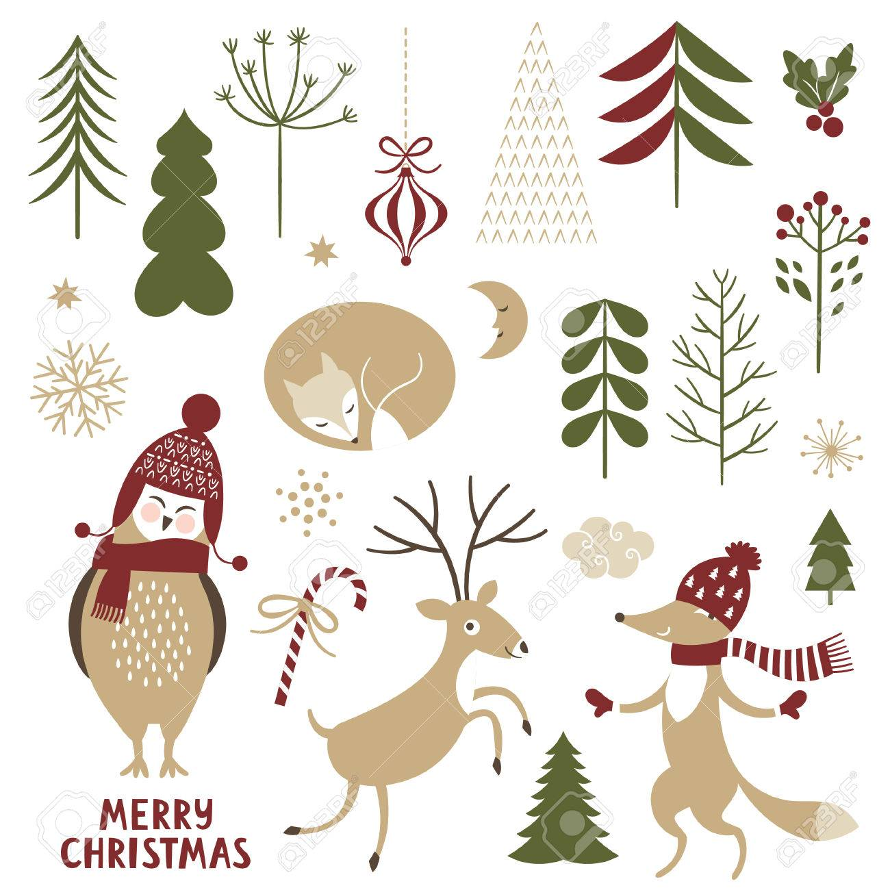 Christmas Illustrations.Christmas Illustrations Set Of Graphic Elements And Cute Characters