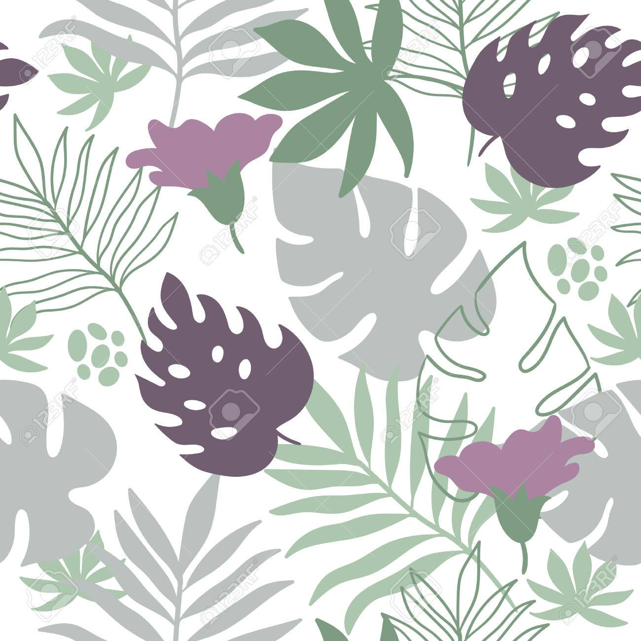 tropical leaves seamless pattern - 54418160