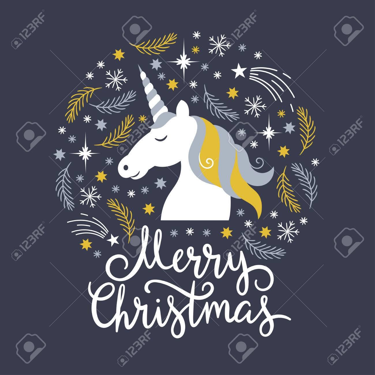 Christmas Unicorn.Christmas Illustration Merry Christmas Unicorn