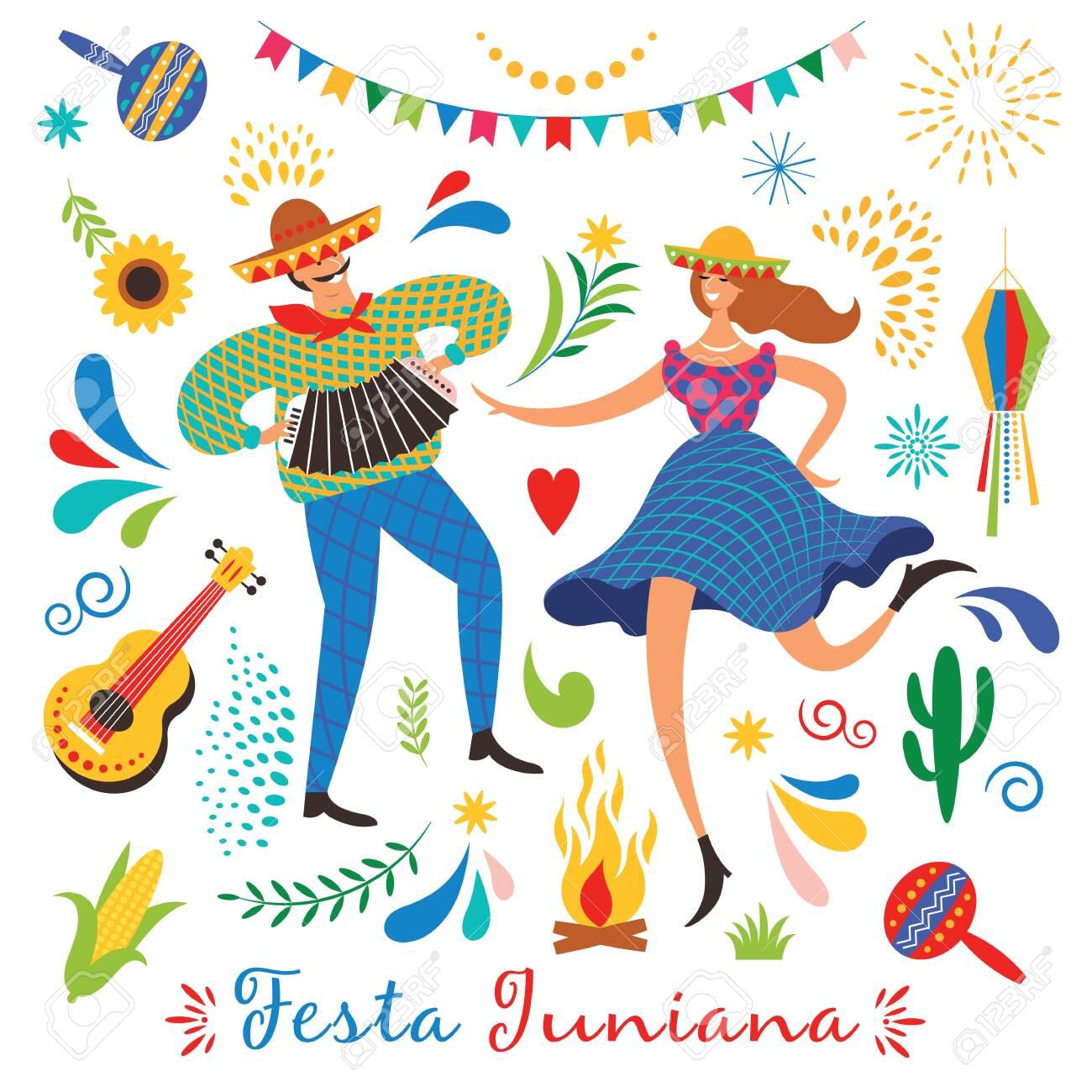 Festa Junina.The June party of Brazil. Festive Mood. Brazil carnival. Set of festive vector elements, guitar, corn, fire, lantern, dansing man and woman - 124560174