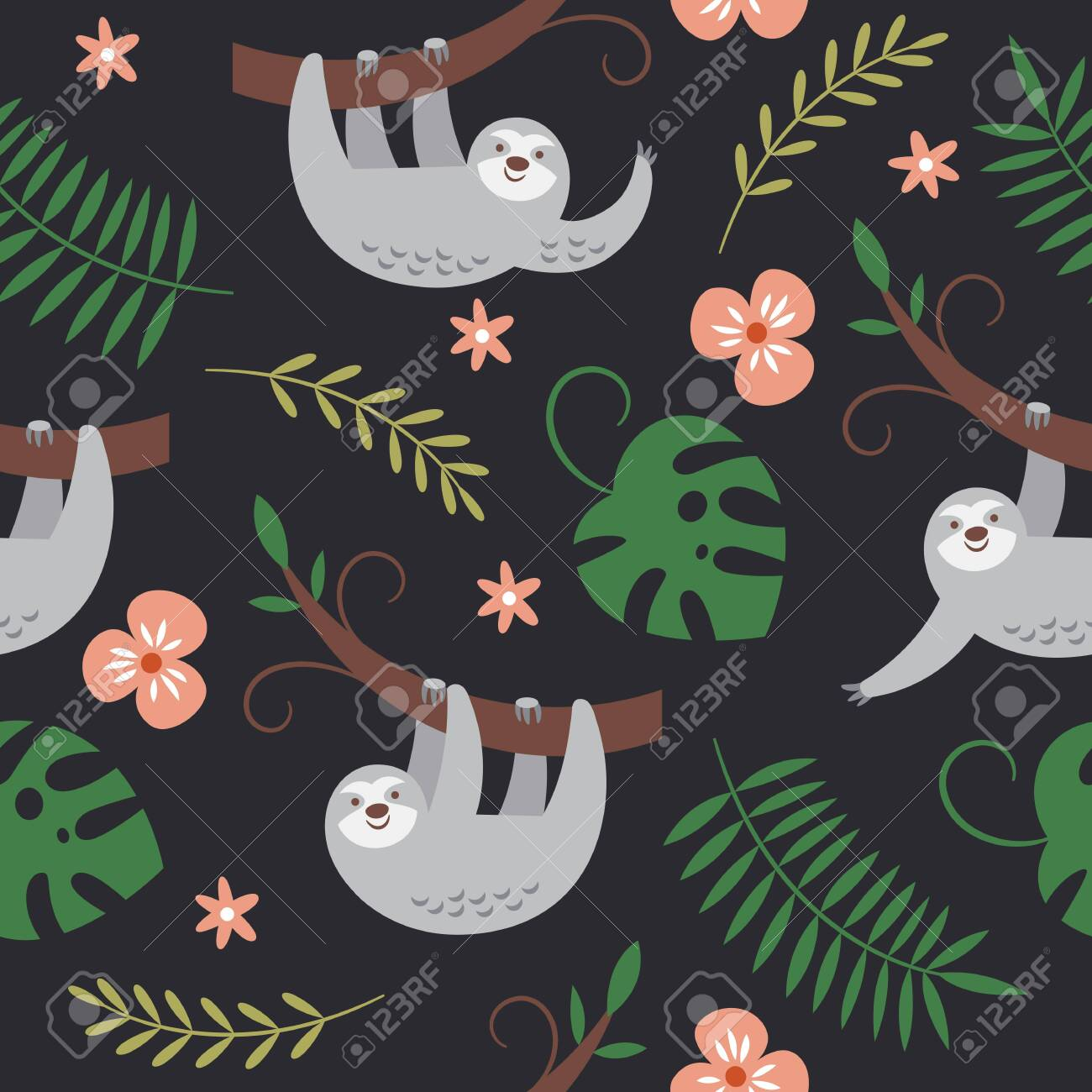 cute sloths hanging on the tree, seamless pattern - 124560219