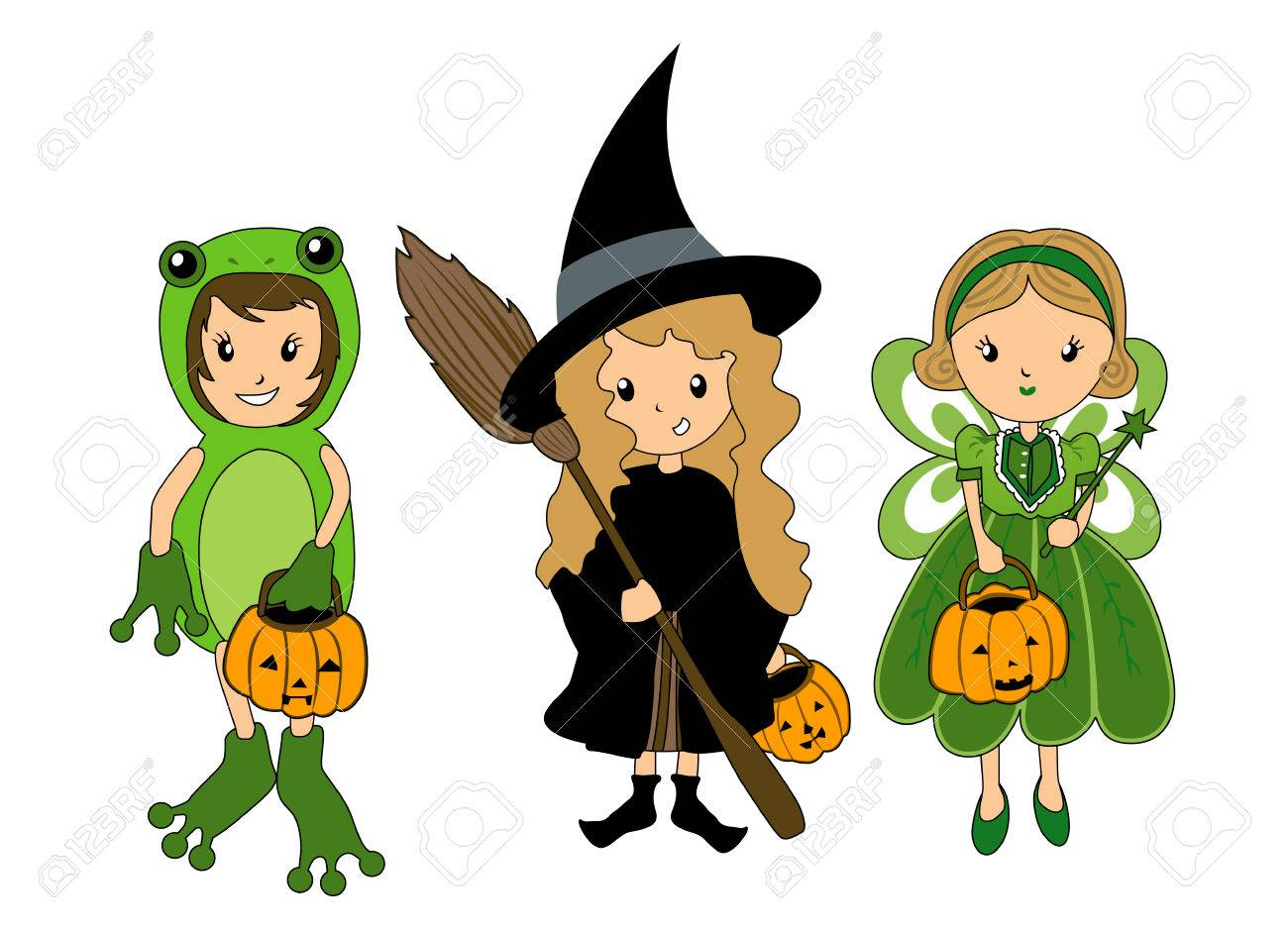 kids in halloween costume stock vector