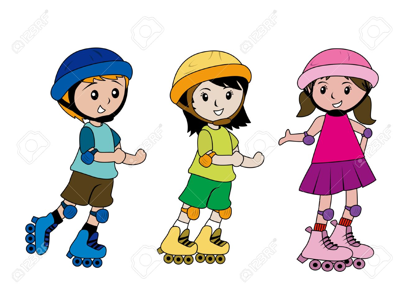 Illustration Of Kids Skating Royalty Free Cliparts, Vectors, And ...