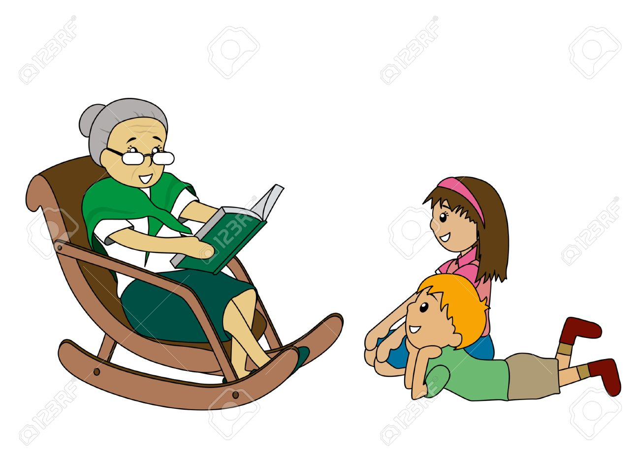 Illustration of Kids listening to Grandma's stories Stock Vector - 1780180