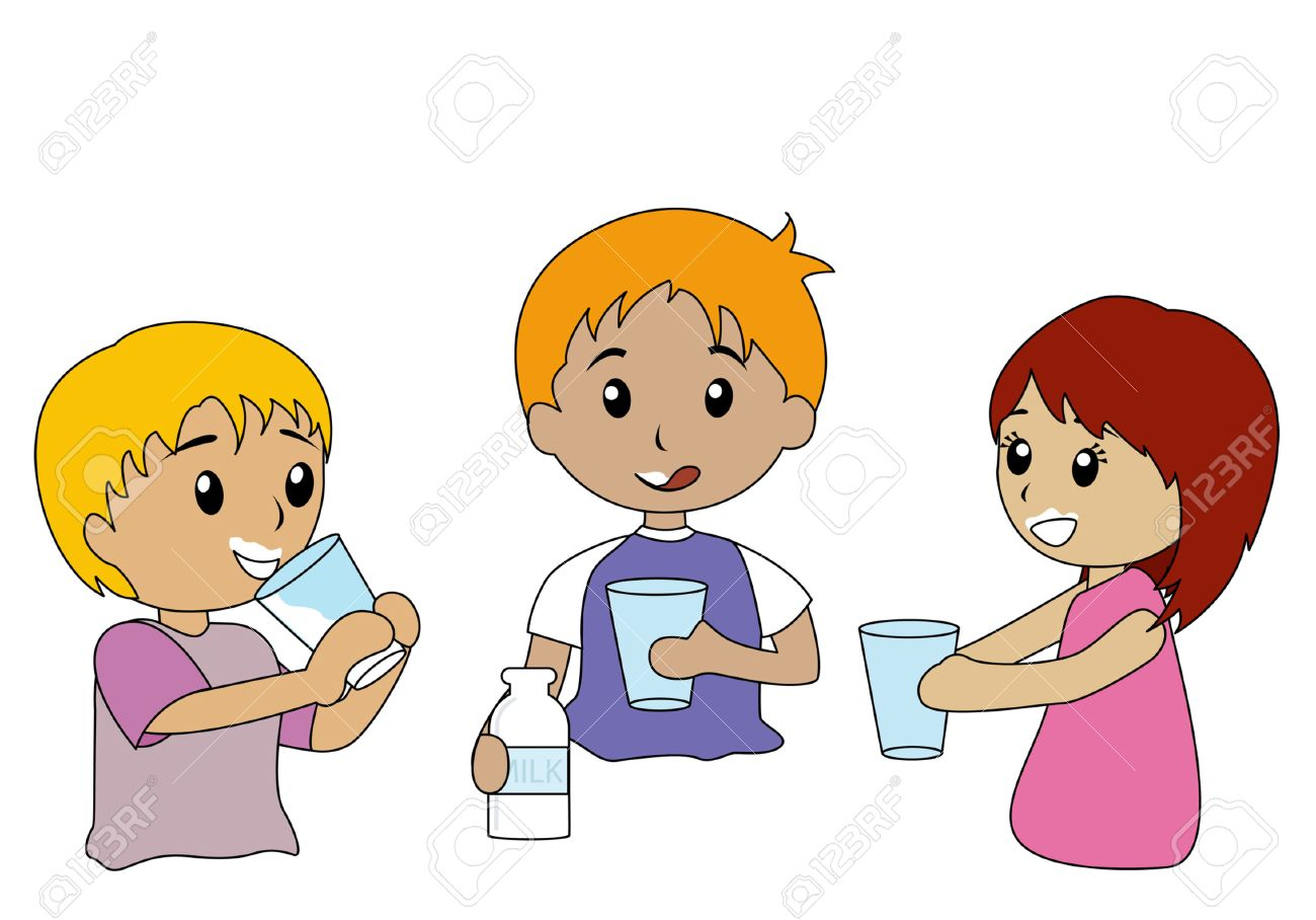illustration of kids drinking milk royalty free cliparts, vectors