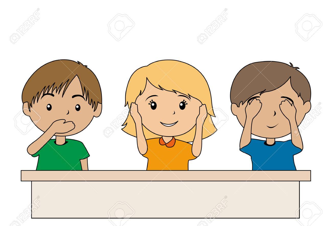 子供のジェスチャーと言っ話す、聞くと悪を見ないのイラスト