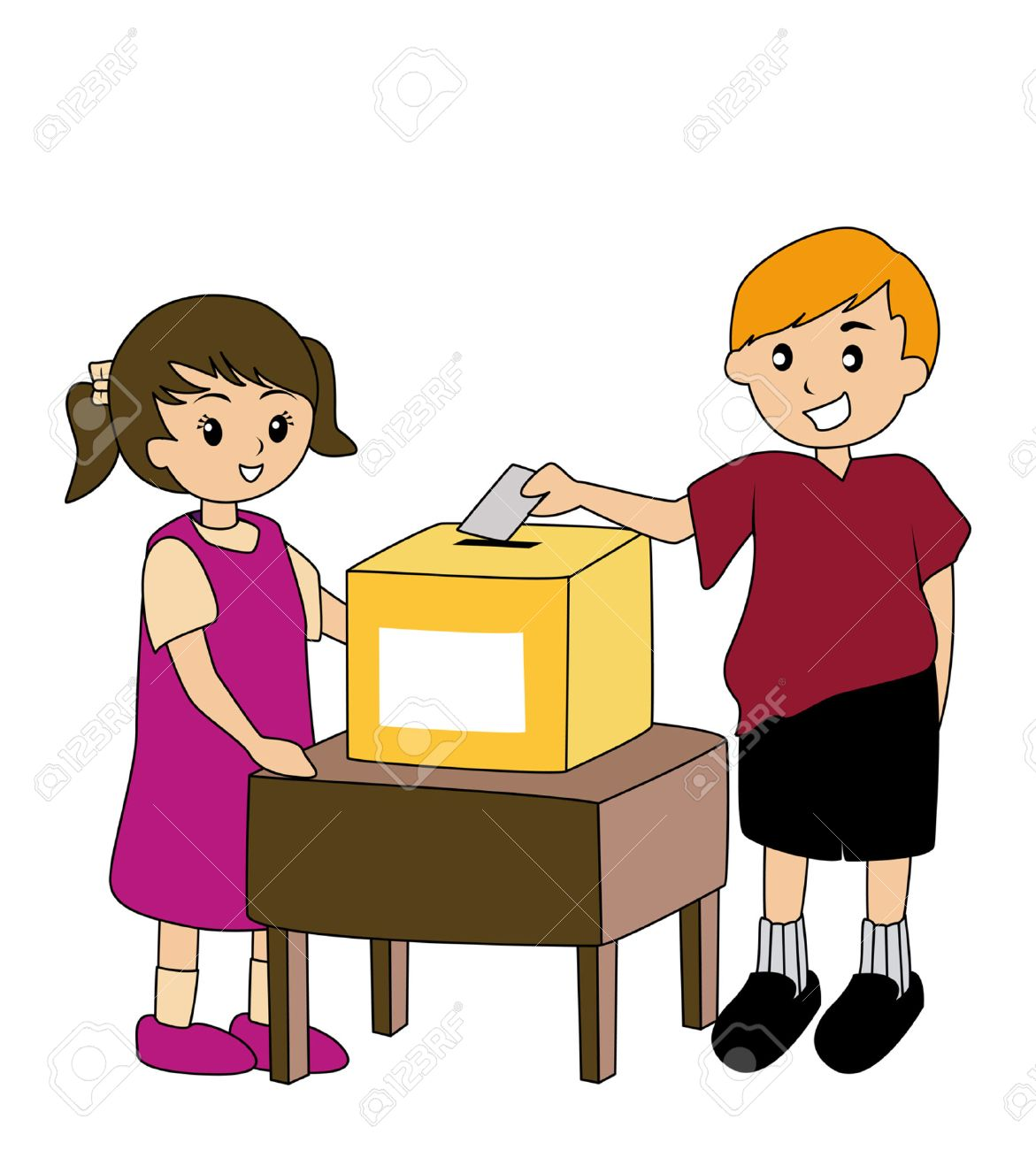 Illustration of Kids with Ballot Box Stock Vector - 1830378