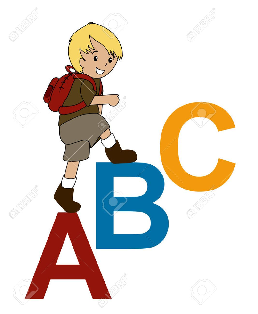 Illustration of a Boy walking up on ABC Stock Vector - 1830393