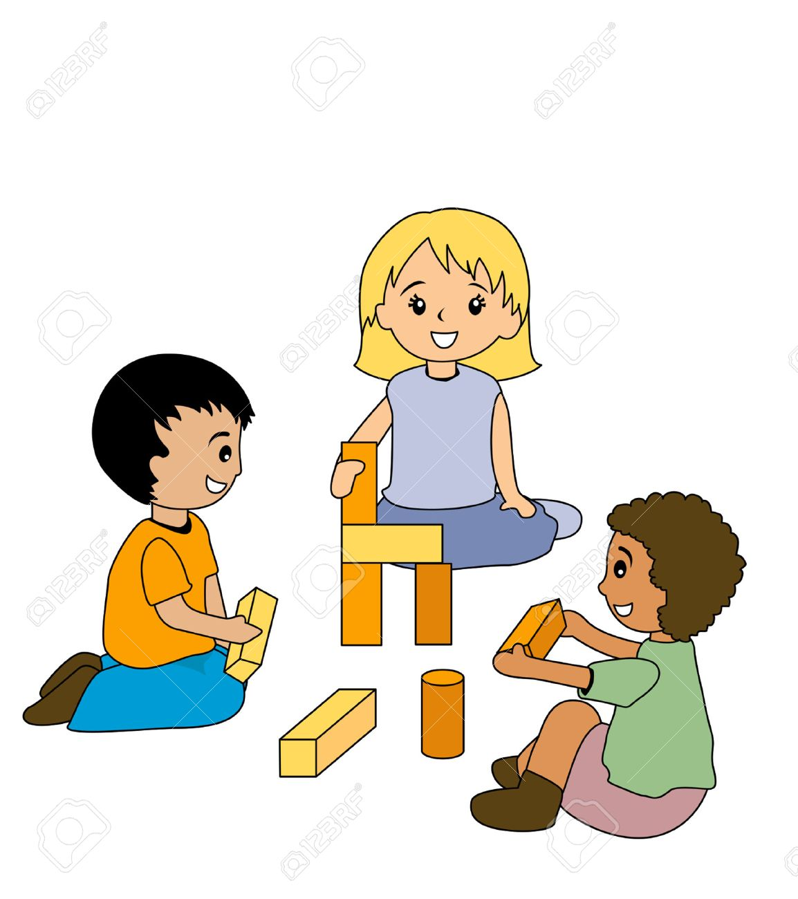 Kids Playing With Blocks Clipart