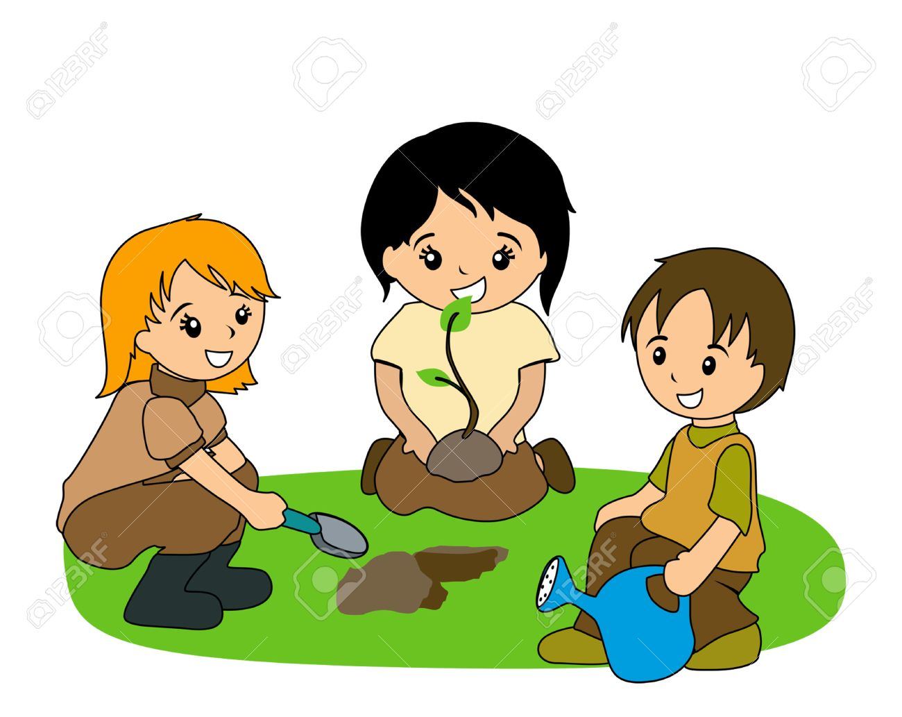illustration of kids planting royalty free cliparts vectors and rh 123rf com painting clipart planning clipart
