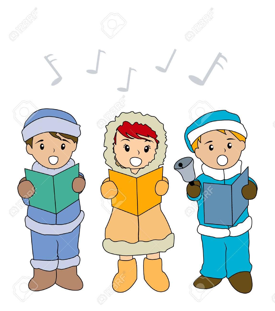 Illustration of Kids singing Christmas Carols Stock Vector - 1842442