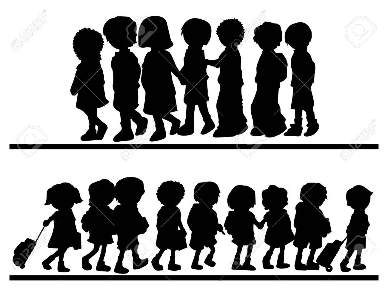 Silhouettes of Children Walking Stock Vector - 1975645
