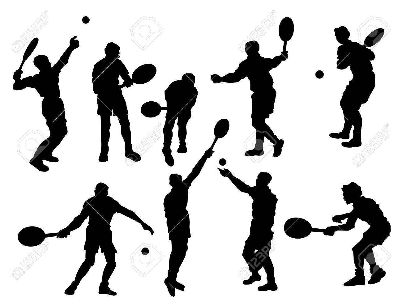 Tennis Players Silhouette Stock Vector - 1975642