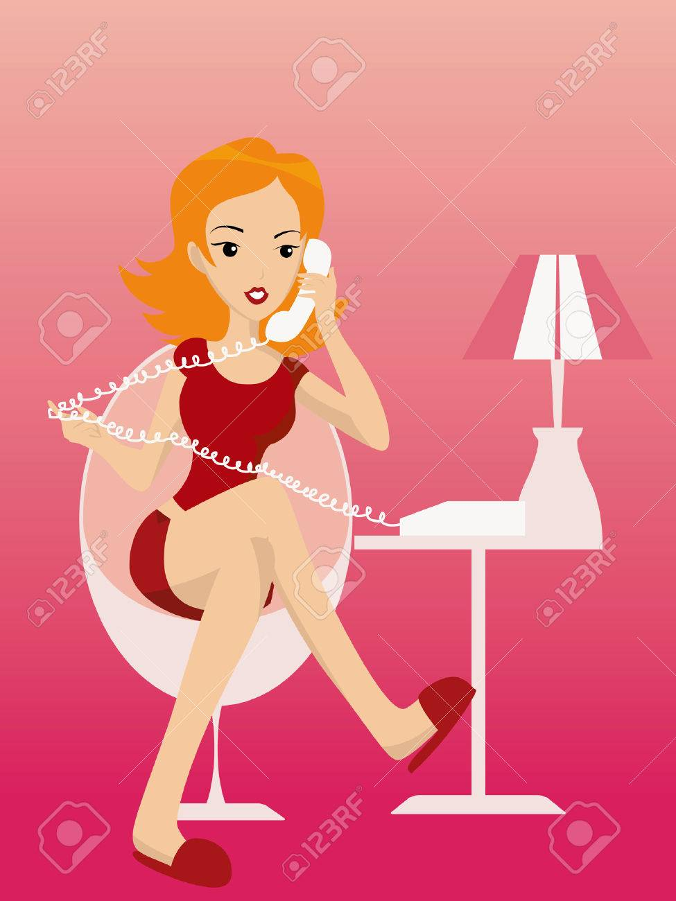 Illustration of a Girl talking on the Phone Stock Vector - 2118301