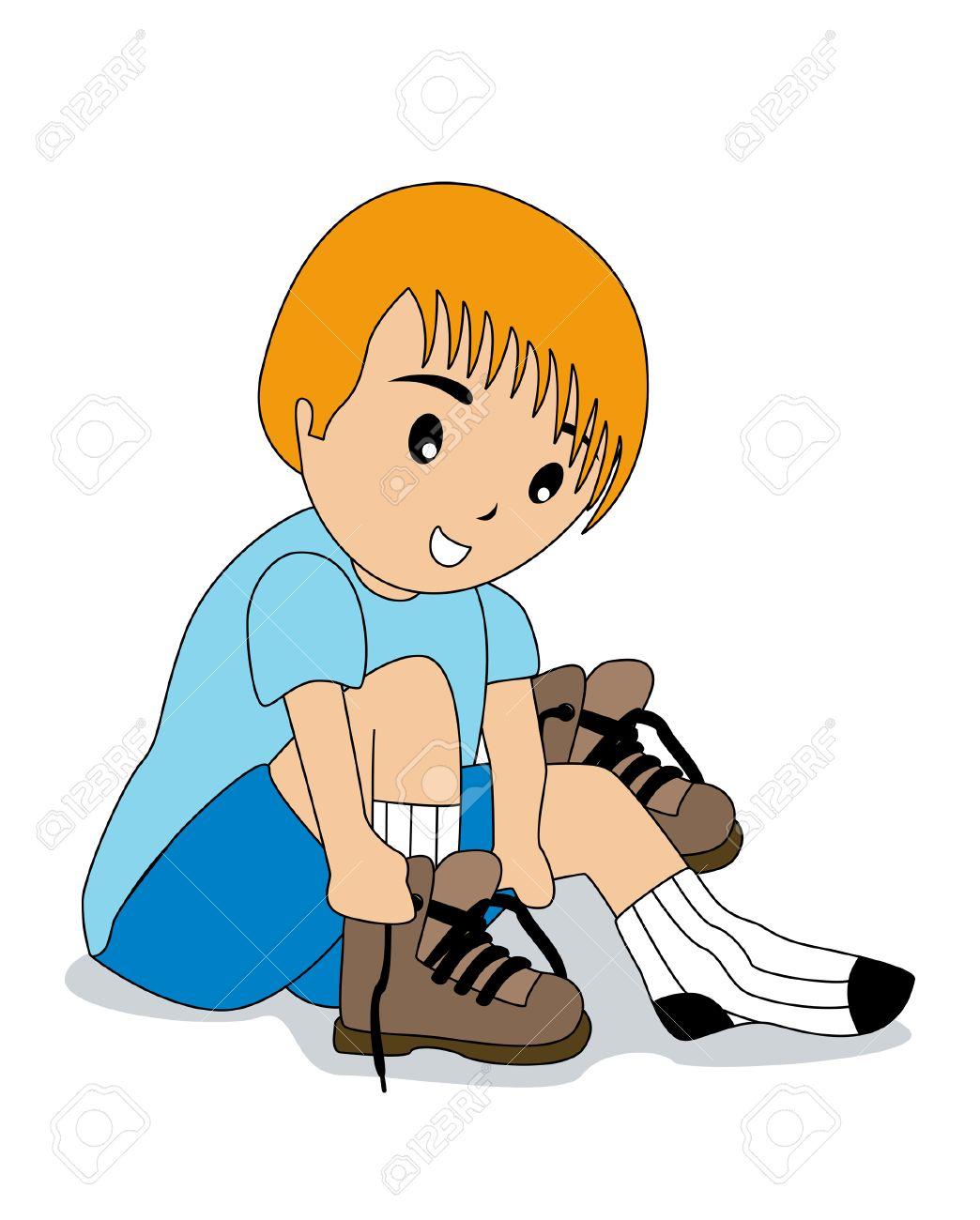 Boy Tying Shoelaces Royalty Free