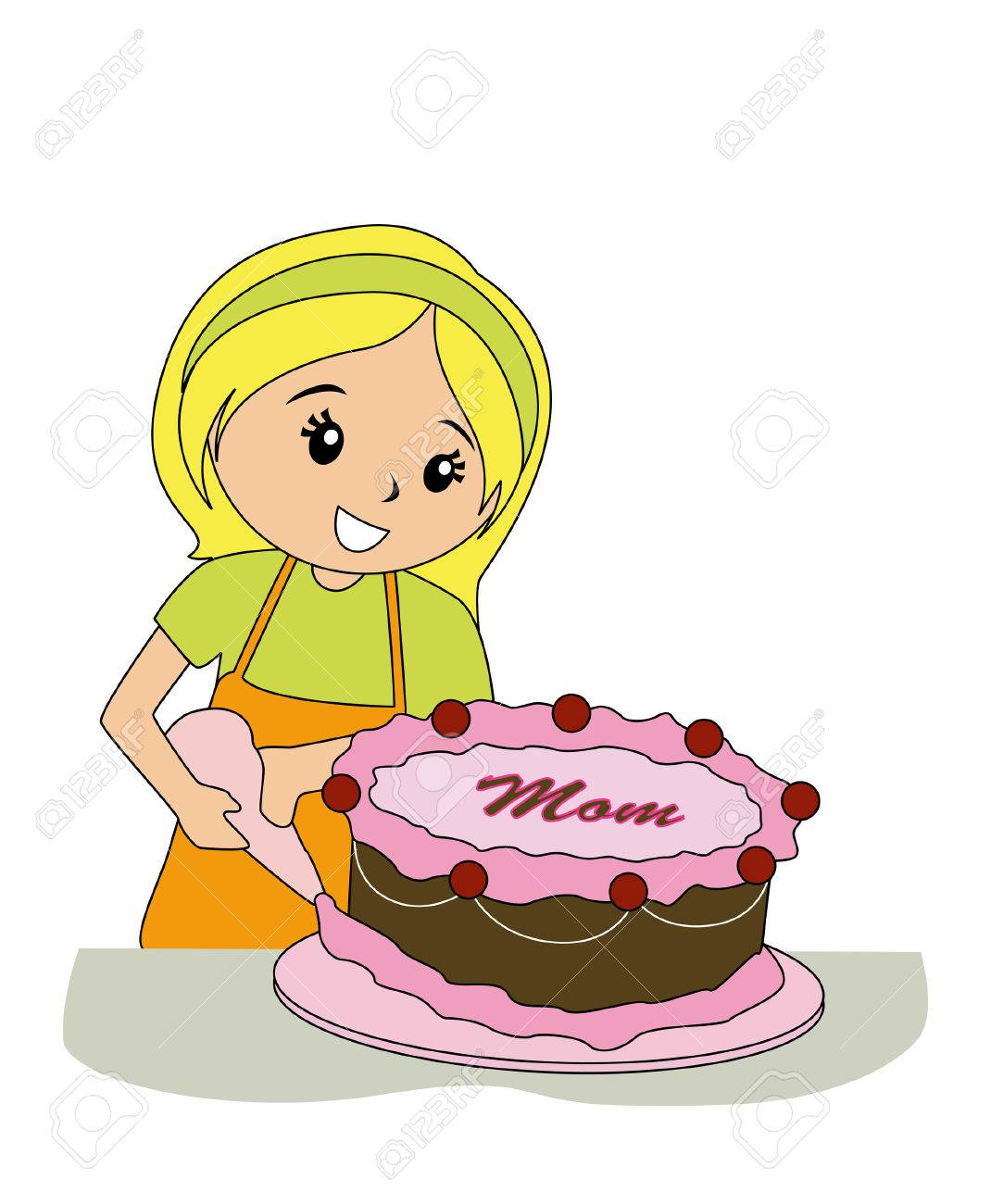 Girl Decorating Cake For Mom Royalty Free Cliparts, Vectors, And ...