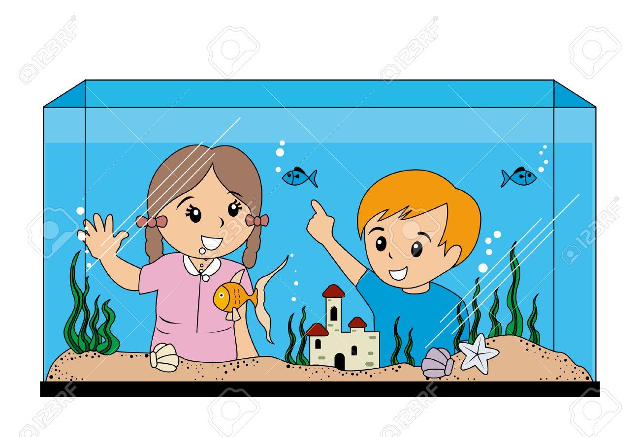 children looking at aquarium royalty free cliparts vectors and rh 123rf com aquarium clip art free aquarium clip art free images