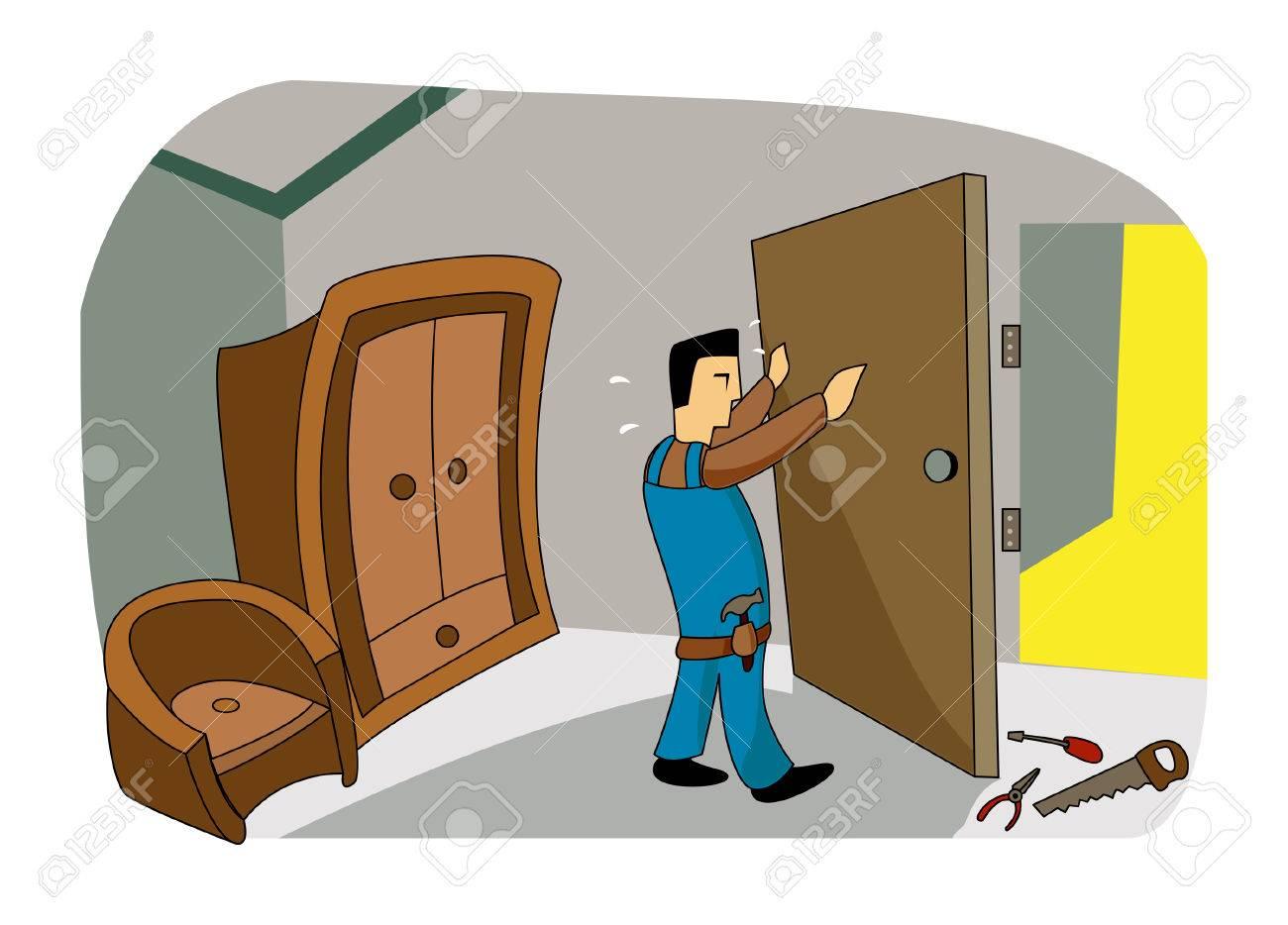 Fixing Door Stock Vector - 2765451