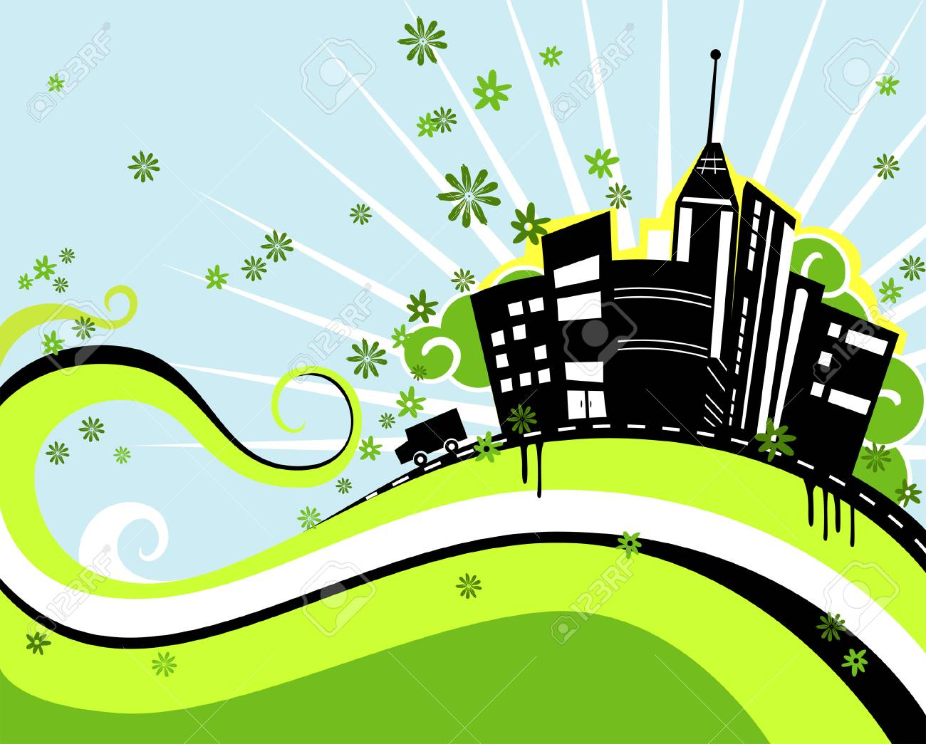 Urban Design in Green and Black Stock Vector - 3071631