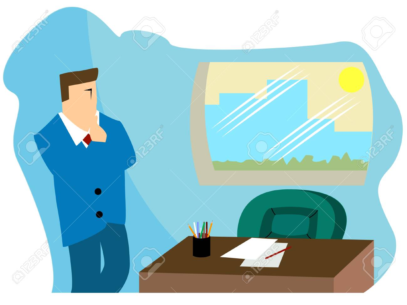 Business COncepts: Thinking Stock Vector - 3148967