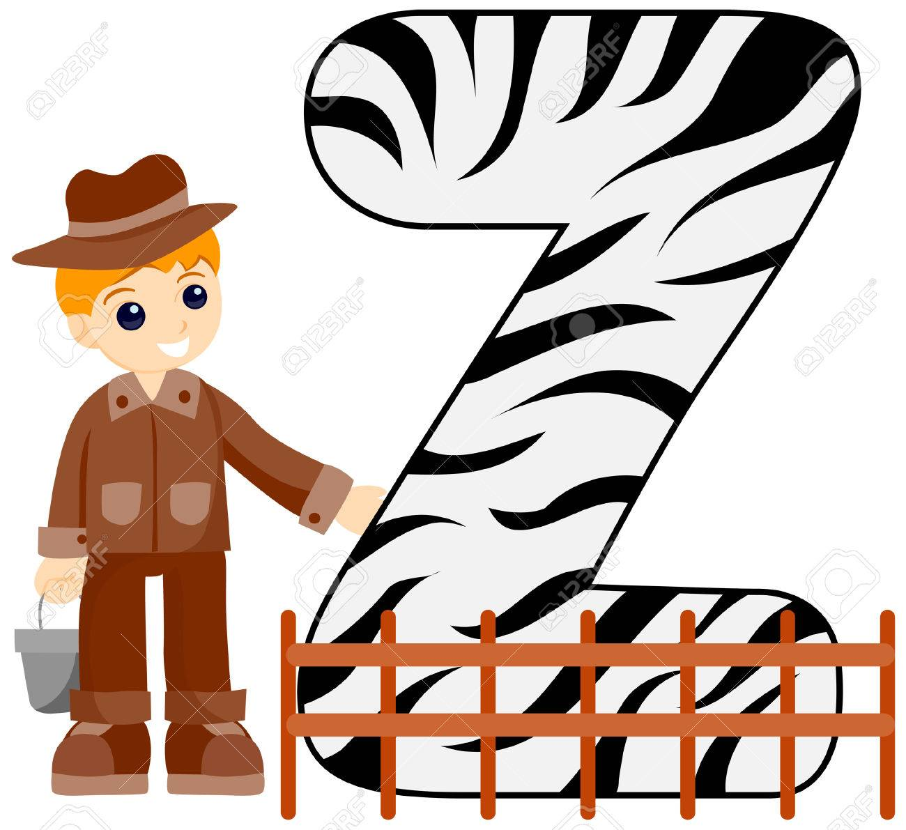 Alphabet Kids (Zoo Keeper) with Clipping Path Stock Vector - 3469870