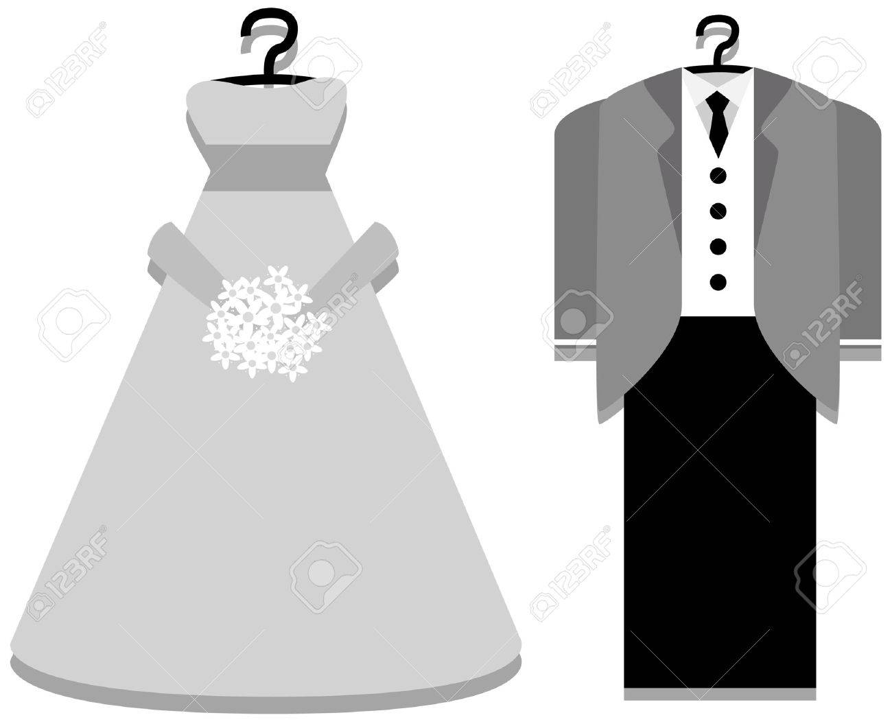 Bridal Gown And Tuxedo With Clipping Path Royalty Free Cliparts ...
