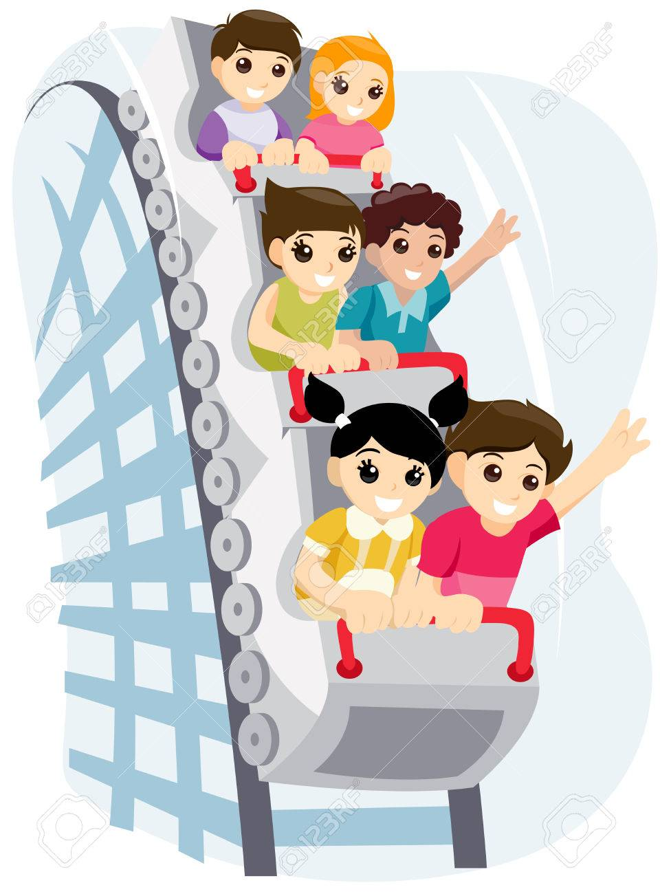 Children on Roller Coaster with Clipping Path Stock Vector - 3620209
