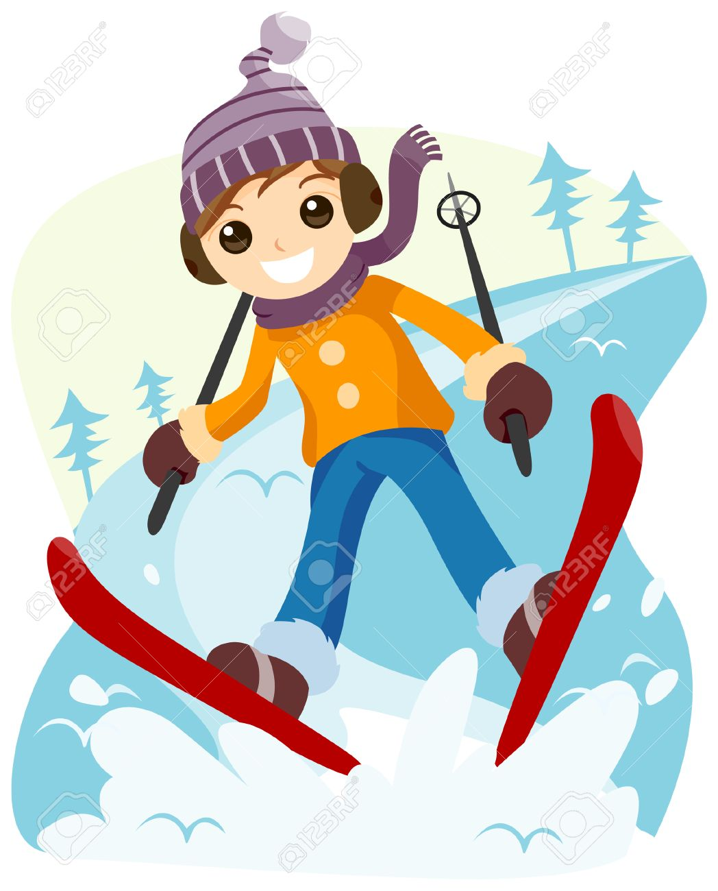 boy skiing with clipping path royalty free cliparts vectors and rh 123rf com skiing clipart cute skiing clip art girls