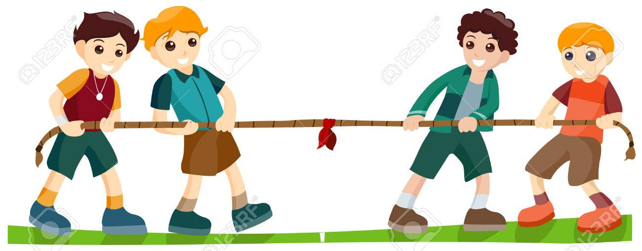 Children playing Tug of War with Clipping Path Stock Vector - 3676093