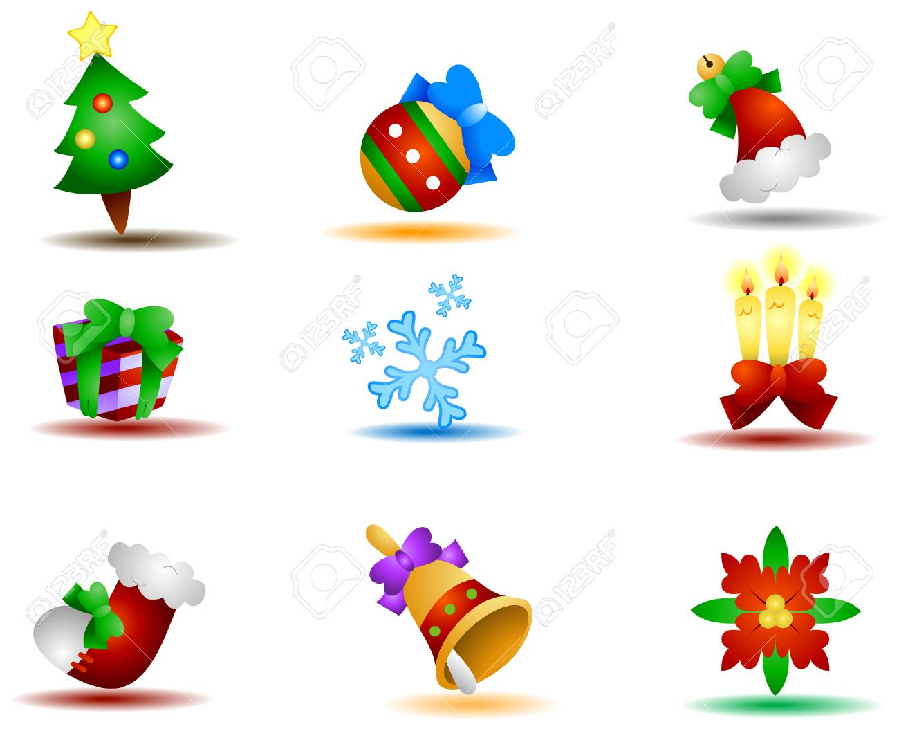 Christmas Icons with Clipping Path Stock Vector - 3723473